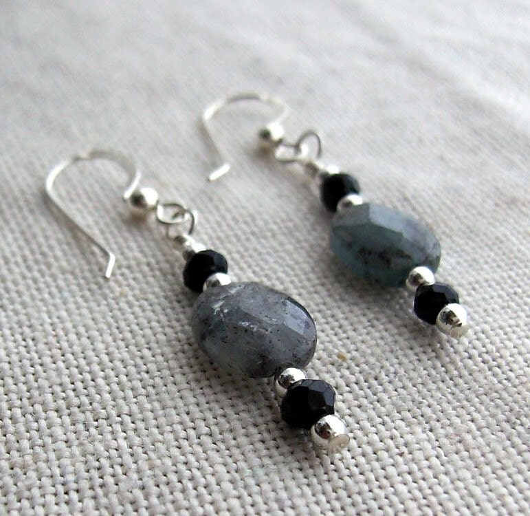 Blue Kyanite and Onyx Earrings Sterling Silver