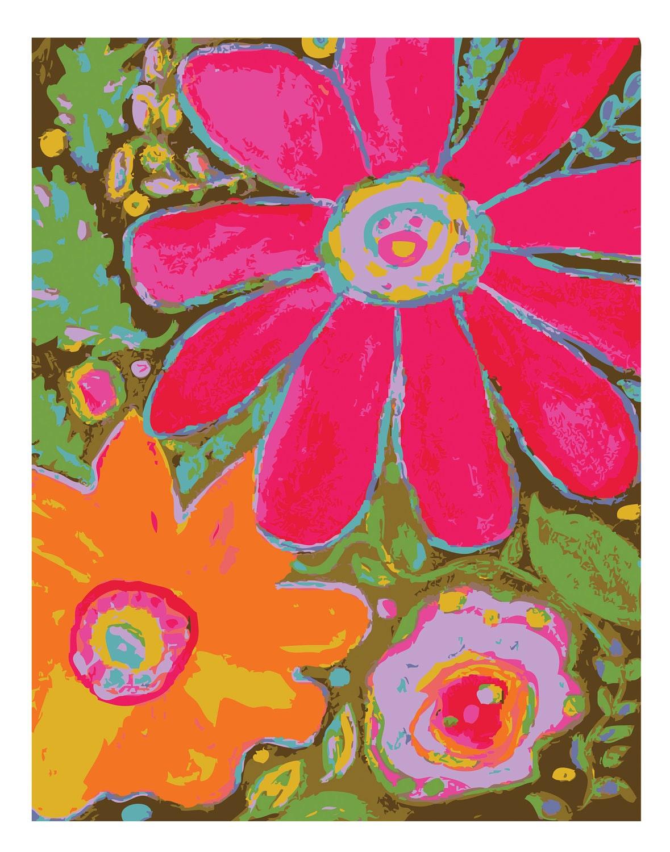Abstract Flower Art Print Flower Power Glory All Around  - Print by Karen Fields 11 x 14 - karenfieldsgallery