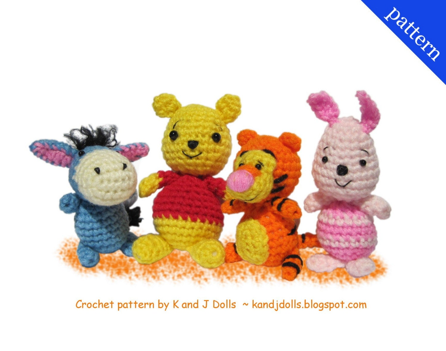 Pooh Bear and Friends  PDF Amigurumi crochet pattern by kandjdolls