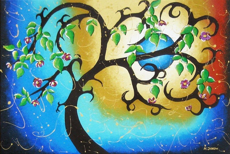 Tree Art Whimsical Blue Moon Woodland Painting