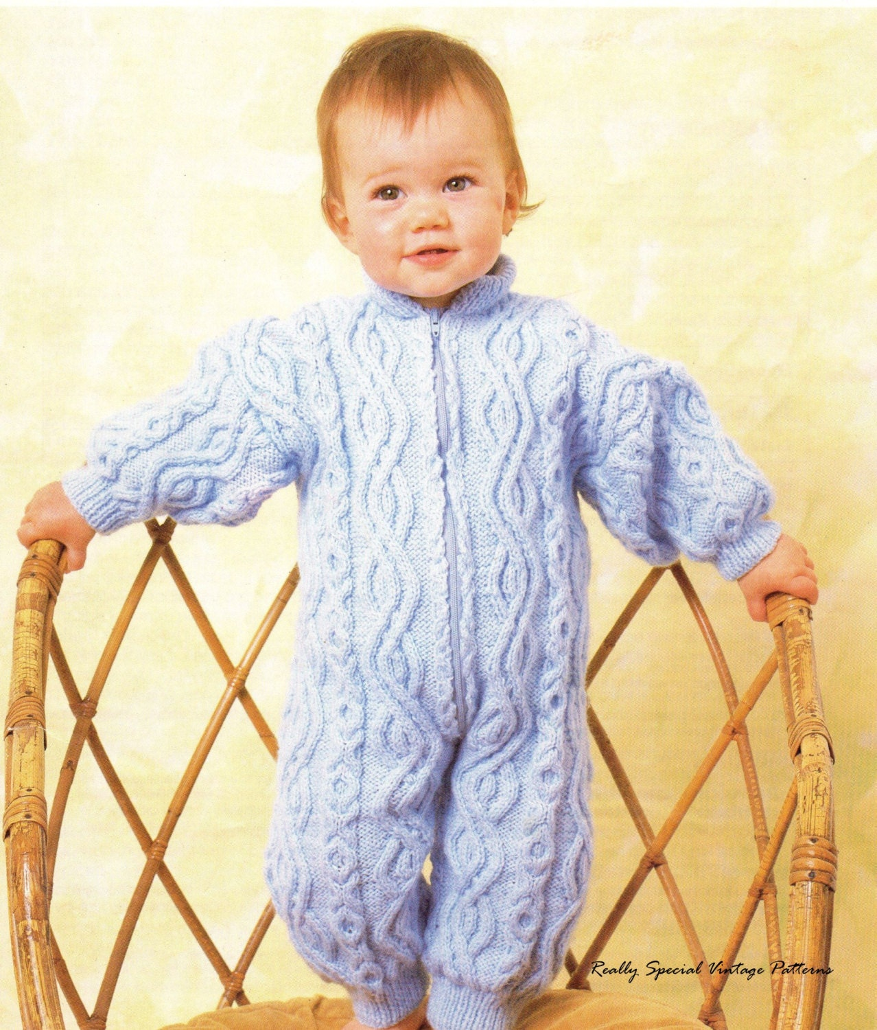 Knitted All In One Baby Suit Pattern : Baby Onesie Snowsuit Aran Vintage knitting by PamoolahVintage