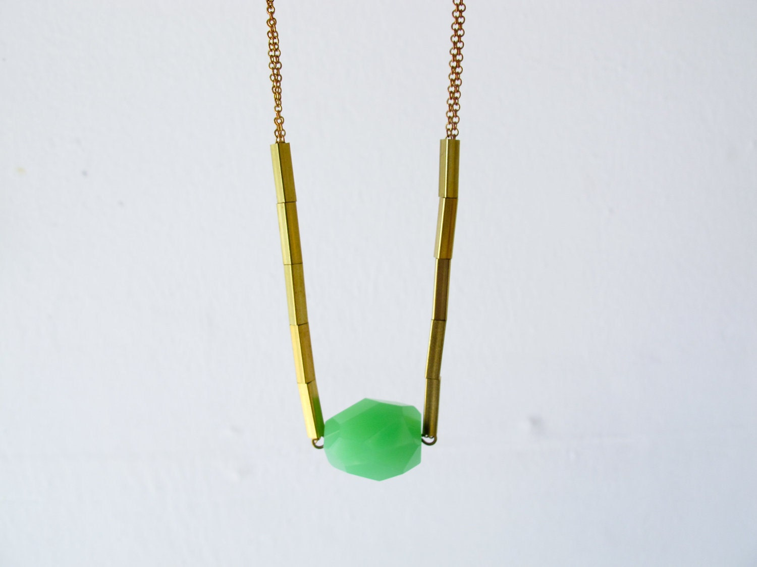Verte - simple green chalcedony faceted nugget on vintage chain necklace