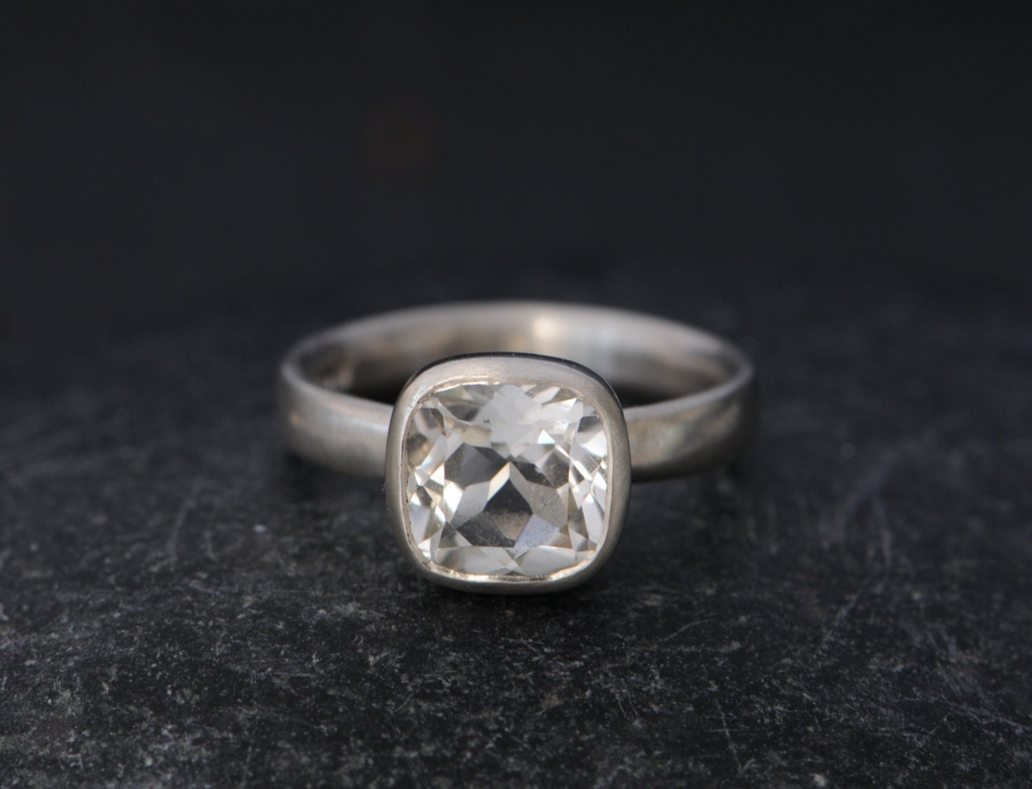 White Topaz Solitaire Ring  White Topaz Engagement Ring  White Topaz Cushion Cut Ring  Square White Topaz  Made To Order  FREE SHIPPING