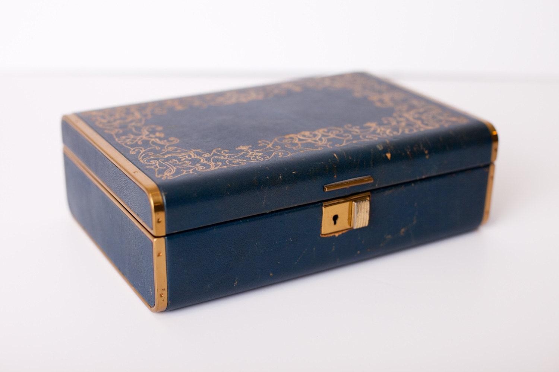 vintage farrington jewelry box genuine blue by timeformemories