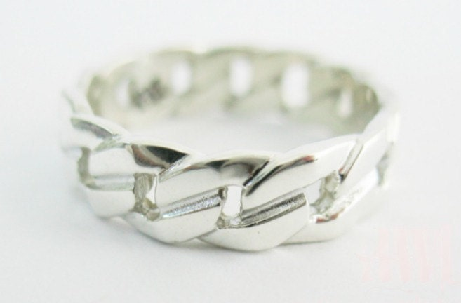 Men's Curb Link Ring in Sterling Silver