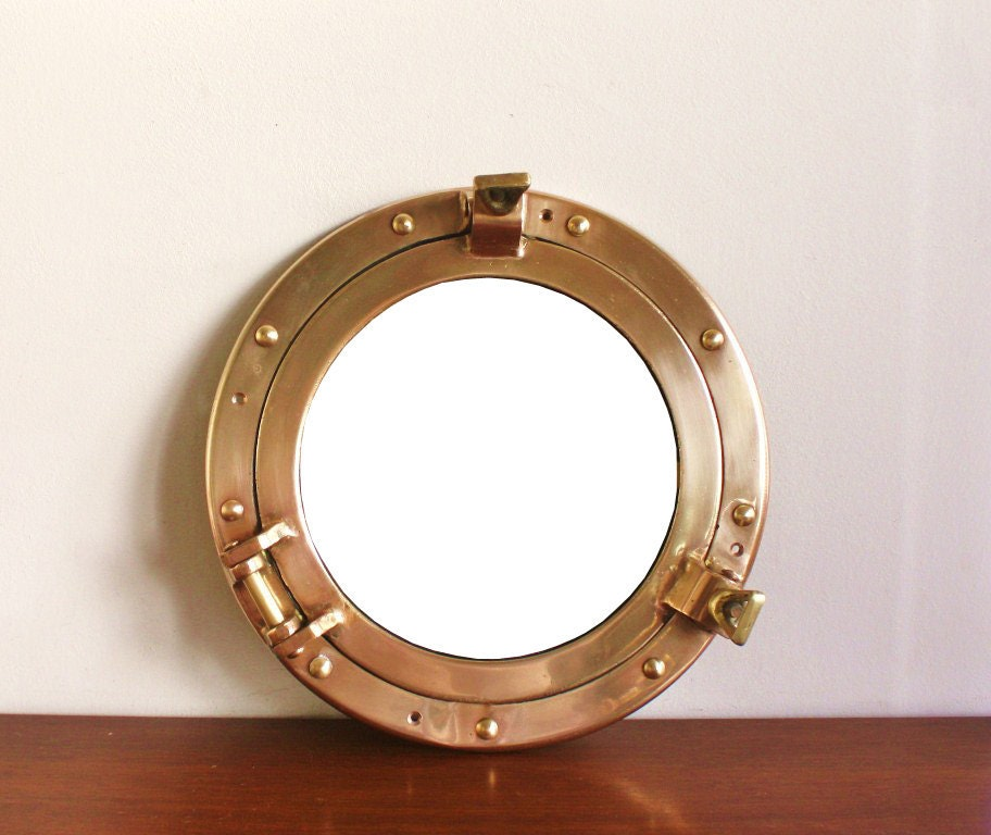 Round brass porthole style mirror by highstreetmarket on etsy for Porthole style mirror