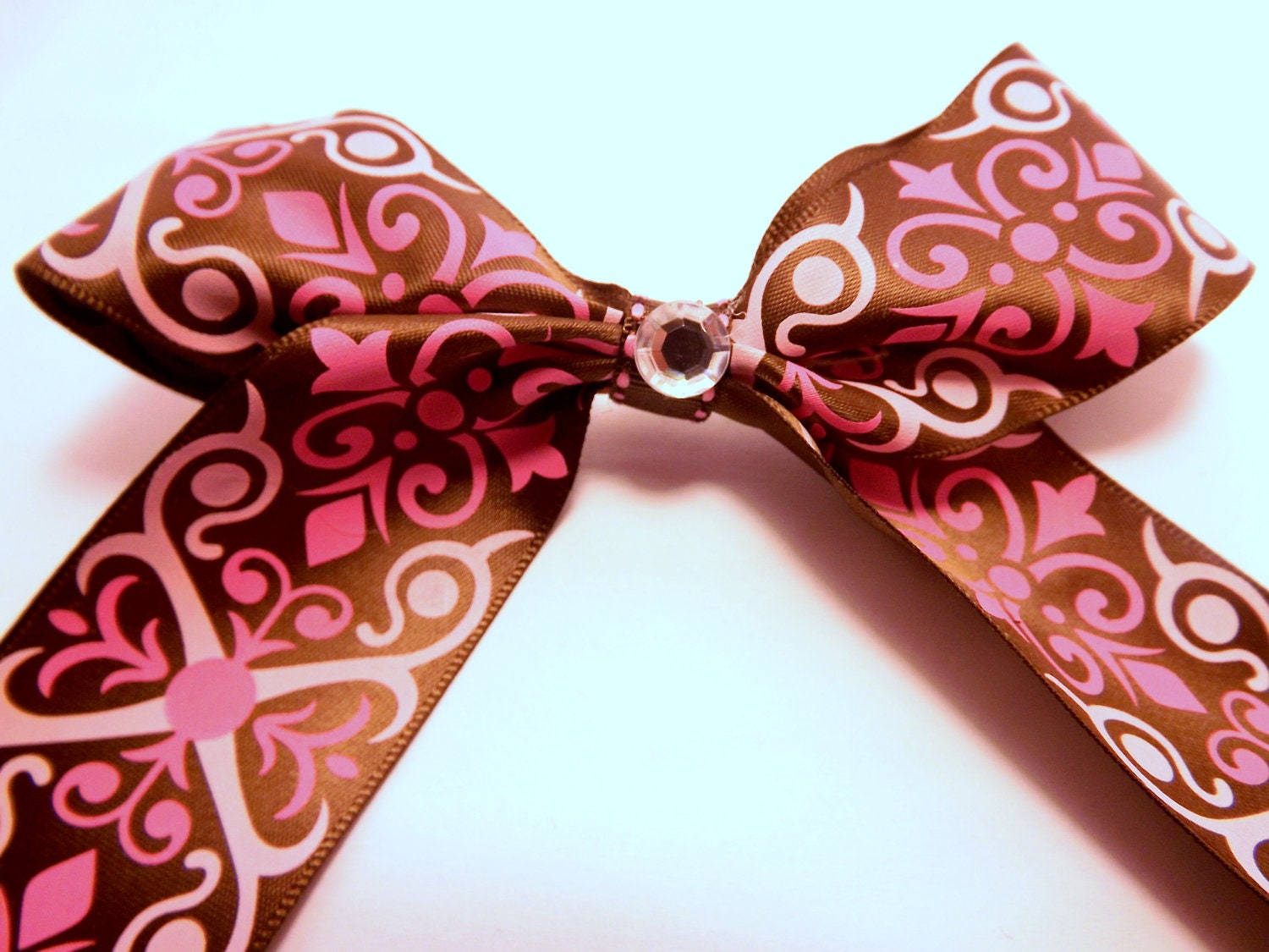 Pink and Chocolate Victorian Children's Hair Ribbon