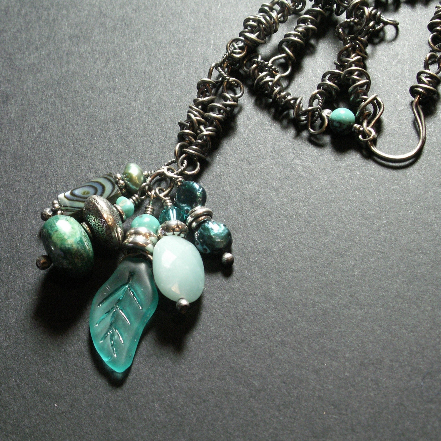 sterling silver jewelry wire wrapped aqua blue chrysocolla amazonite turquoise abalone