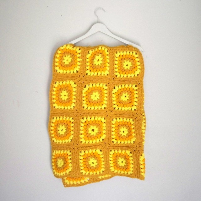 vintage crochet throw blanket