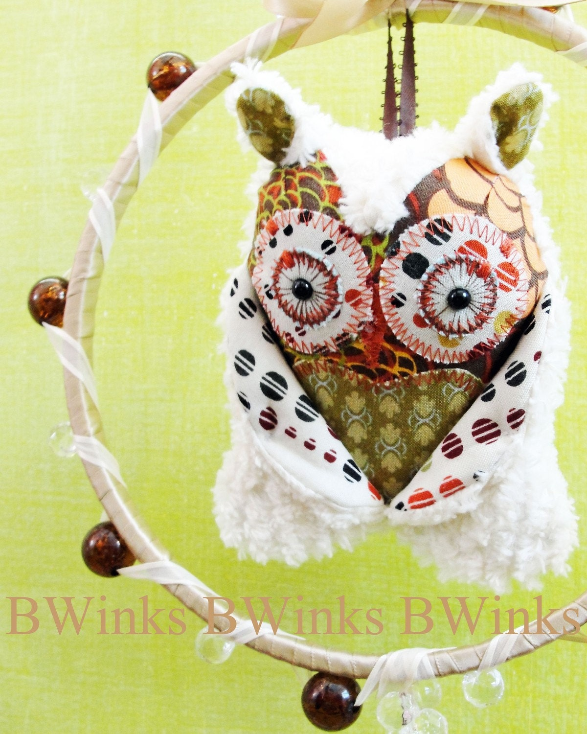 whoot whoot Dream Maker Owl Mobile Brown Floral Explosion