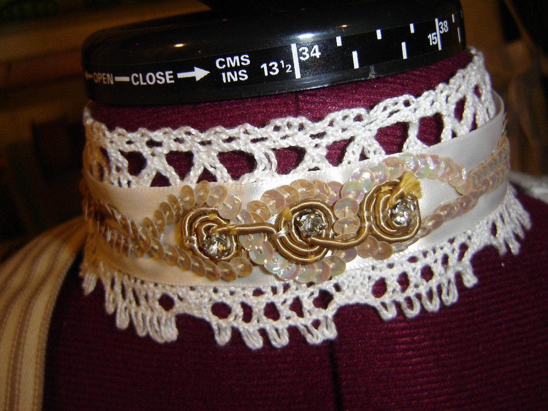 Vintage Rhinestone and Lace Choker/Wrist Cuff