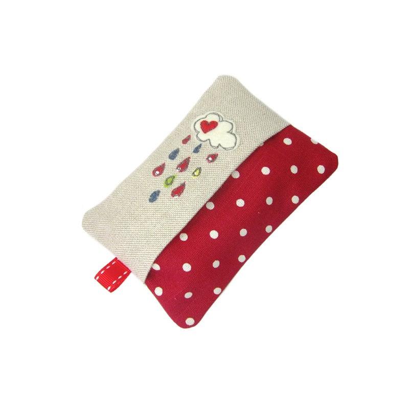 Travel Tissue Case Pocket Tissue Cover  Cloud and Raindrops Red Tissue Holder Stocking Stuffer