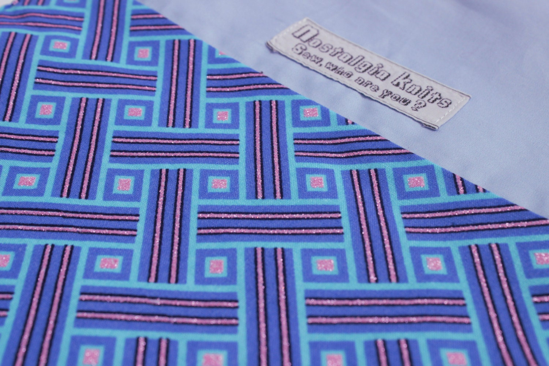 Blue African fabric knitting bag drawstring bag project bag African fabric bag African fabric drawstring bag UK knitting shop