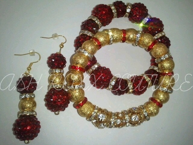 "Ash Roxx Couture Exclusive ""Red Tea"" Earrings and Bracelet Set"