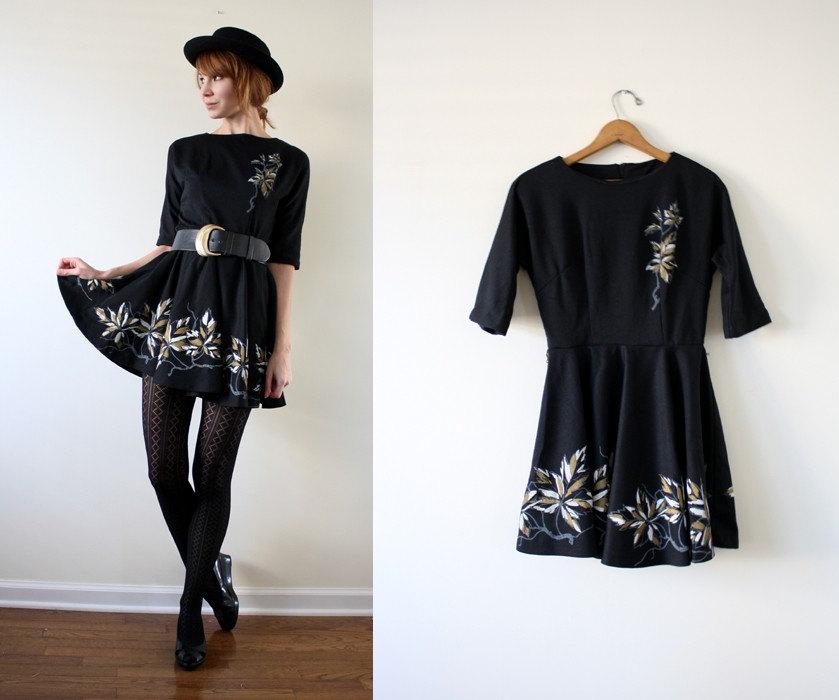 Vintage 60's Floral Flounce Mini Dress S