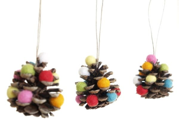 Rustic Christmas Ornaments, Pine Cone Xmas Ornaments, Natural Eco-friendly Eco Friendly, Rainbow, Colorful, Wool Felt Needle Felted - 3 - Fairyfolk