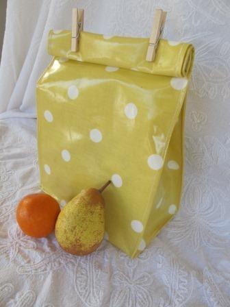 """Reusable Oilcloth Lunch Bag """"Sunny"""""""