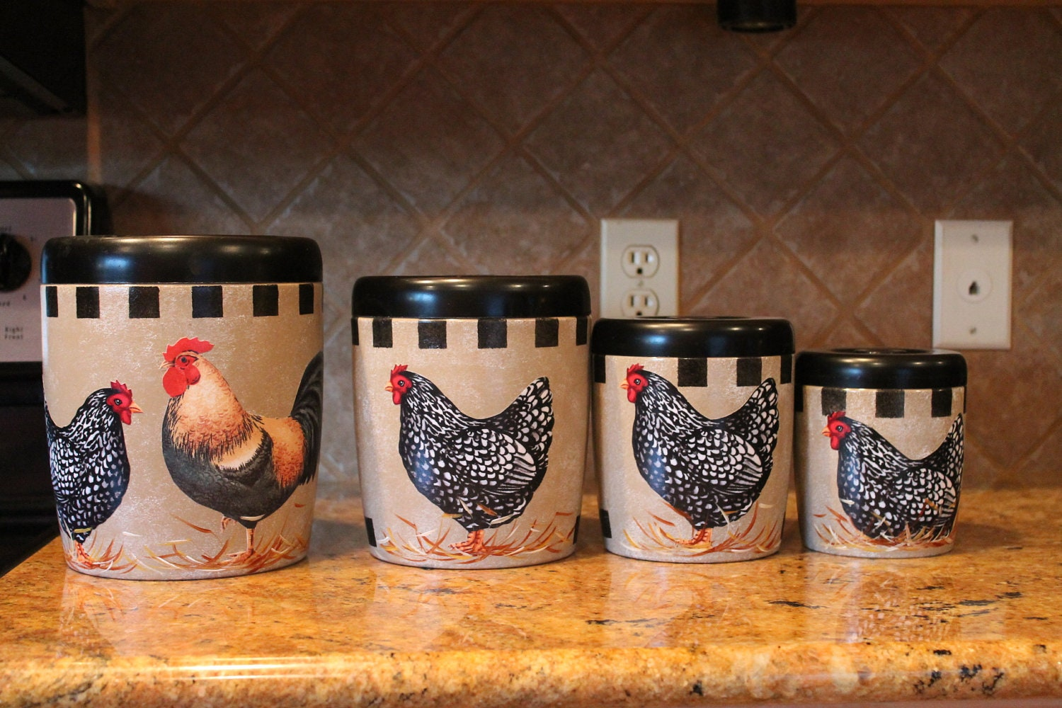 Rooster canister set 4 piece vintage upcycled by for Kitchen decoration piece