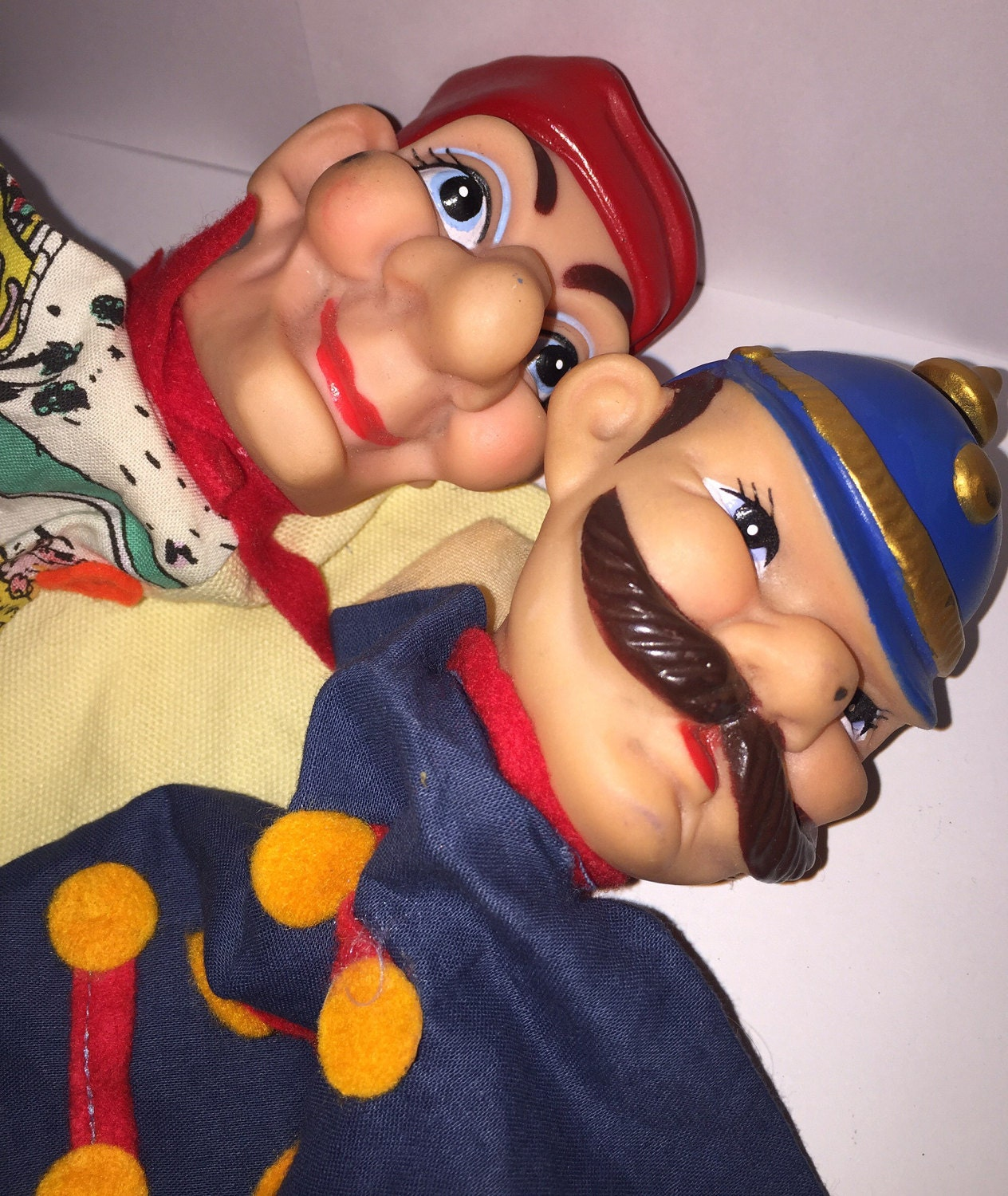 Vintage Character Hand Puppets Punch And Judy Policeman Cloth Vinyl Toy Puppet