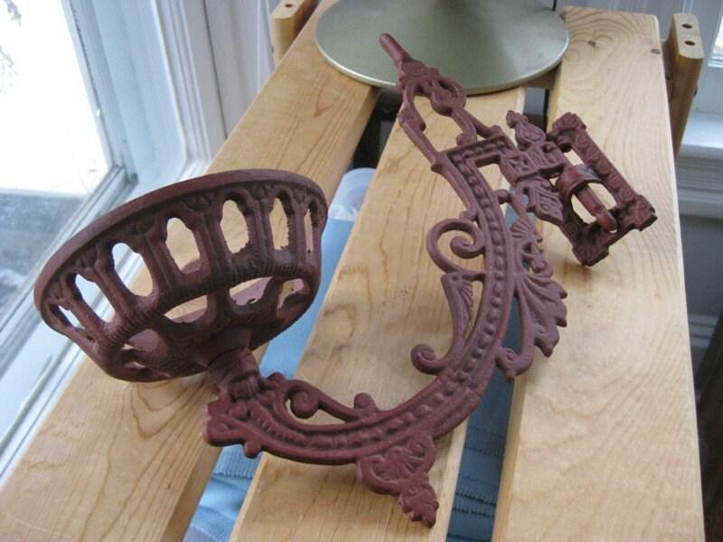 Victorian wrought iron oil lamp holder by dejavujewels on etsy for Wooden kerosene lamp holder