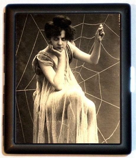 Edwardian Art Nouveau Cigarette Case Id Holder Business Card Case Woman in Spiderweb Style 1