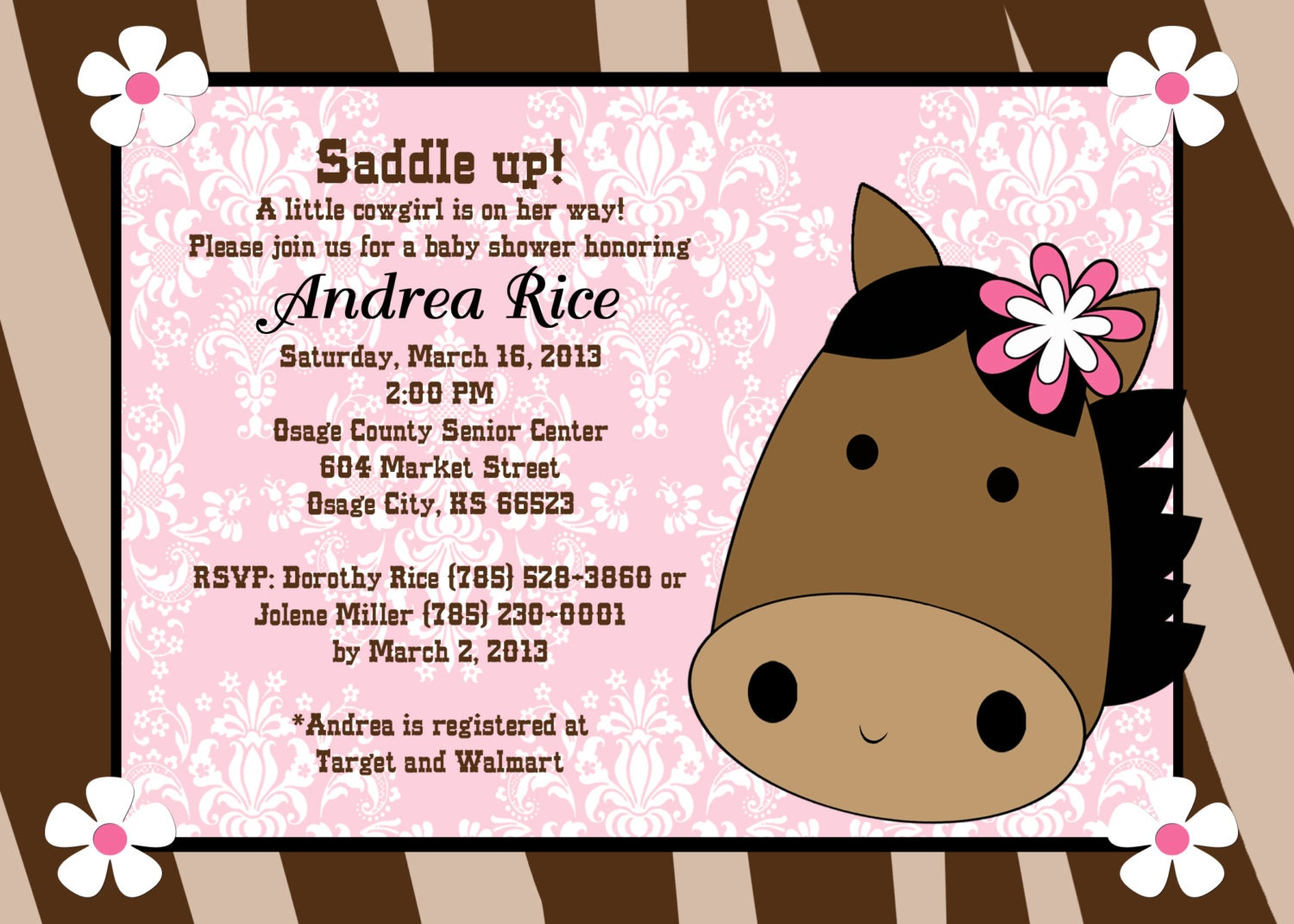 Cowgirl baby shower invitation western baby shower invitations print