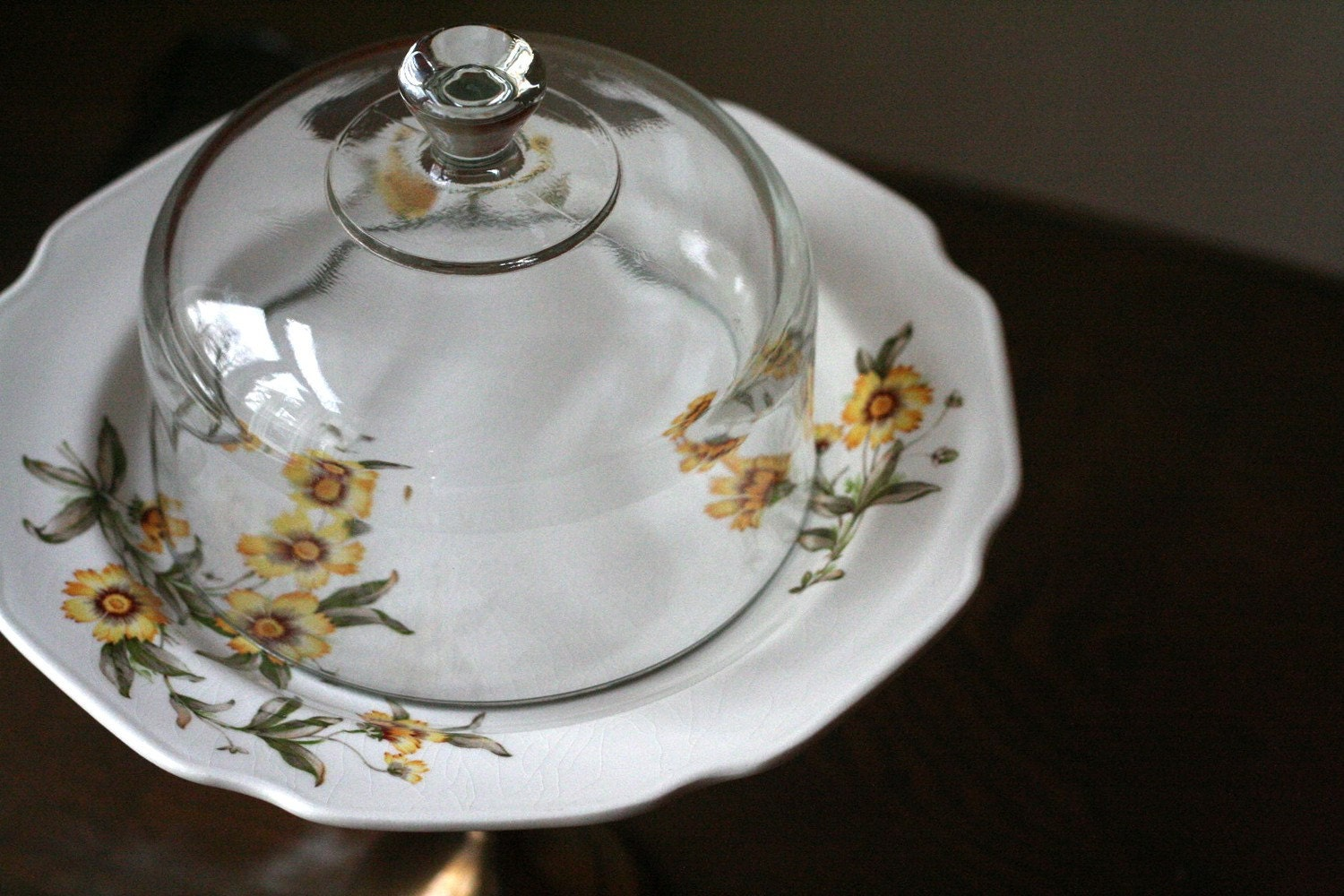Domed cake stand, cupcake stand or display pedestal- Sunny Flower