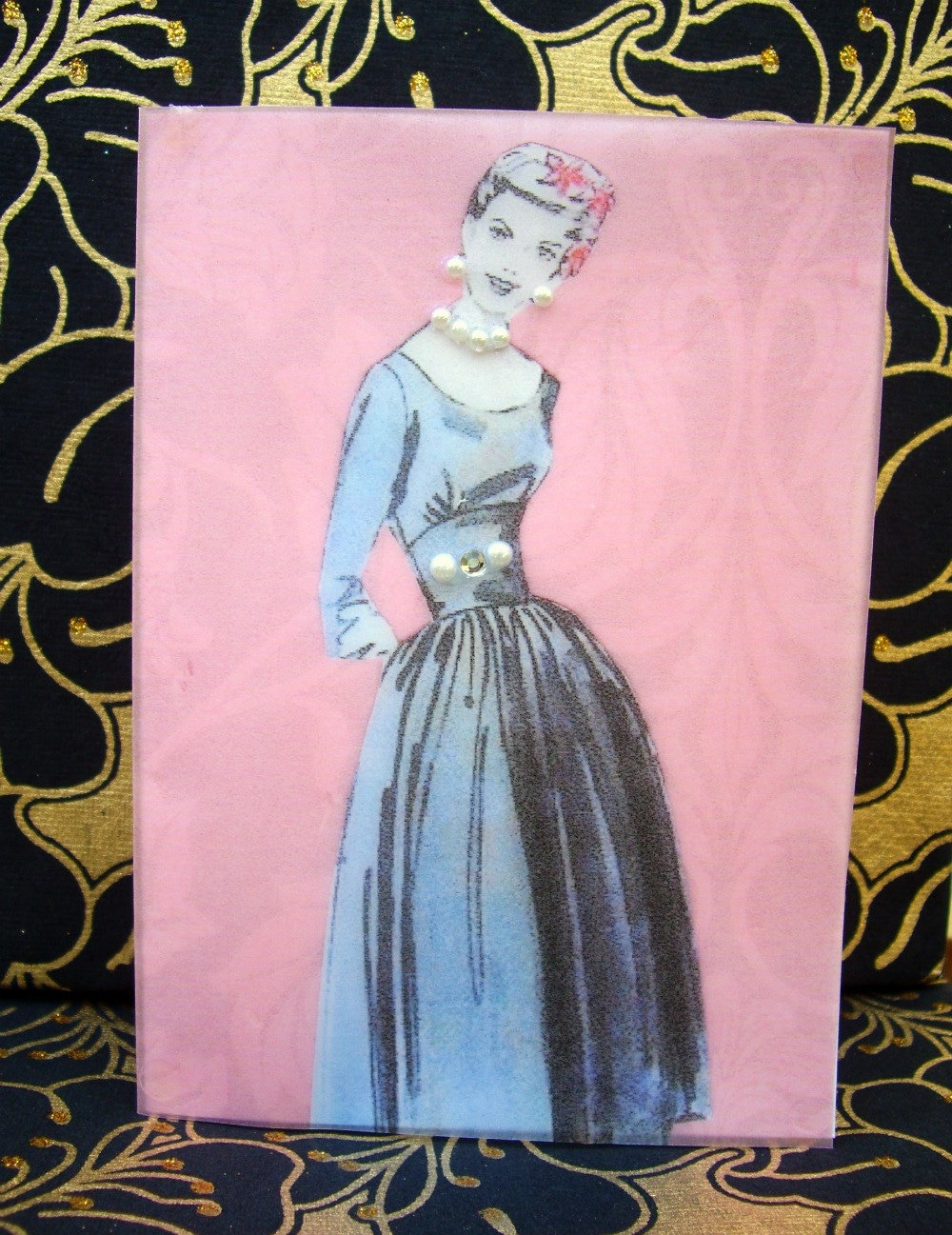 Joan Card / Vintage Printed Collection / 50s Glamour Girl / Handmade Greeting Card