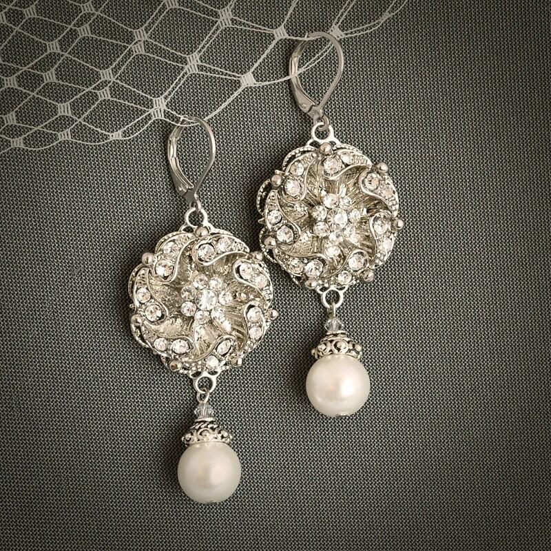EDRRA, Crystal and Pearl Wedding Bridal Earrings, Art Deco Rhinestone Bridal Wedding Leverback Chandelier Earrings, Vintage Style  Jewelry