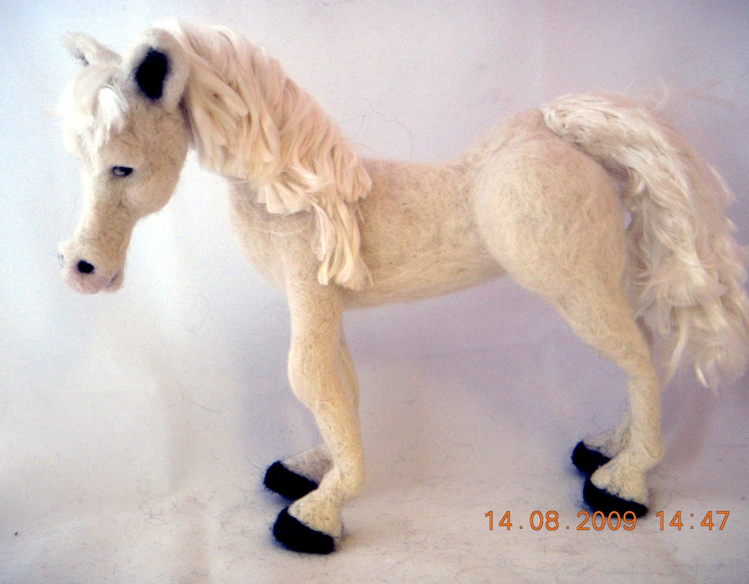 needle felted white horse
