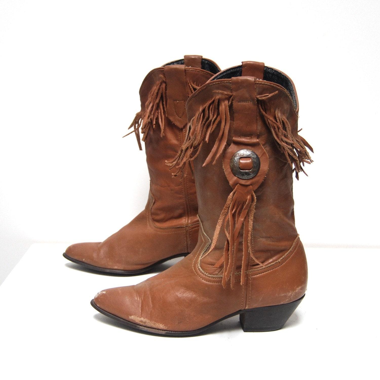vintage 80s FRINGE burnt siena metal SOUTHWEST medallion slouchy boots size 7