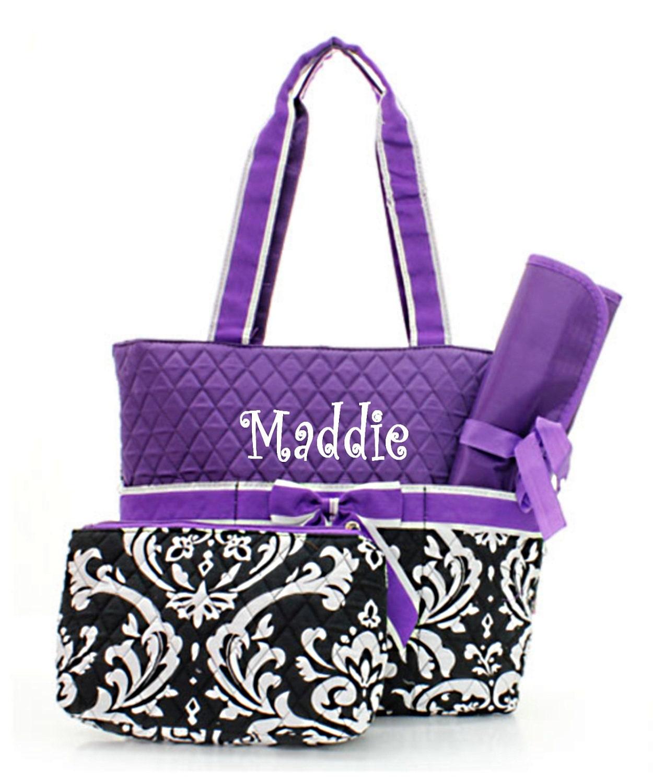 Personalized Diaper Bag - Damask  Purple Diaperbag Set