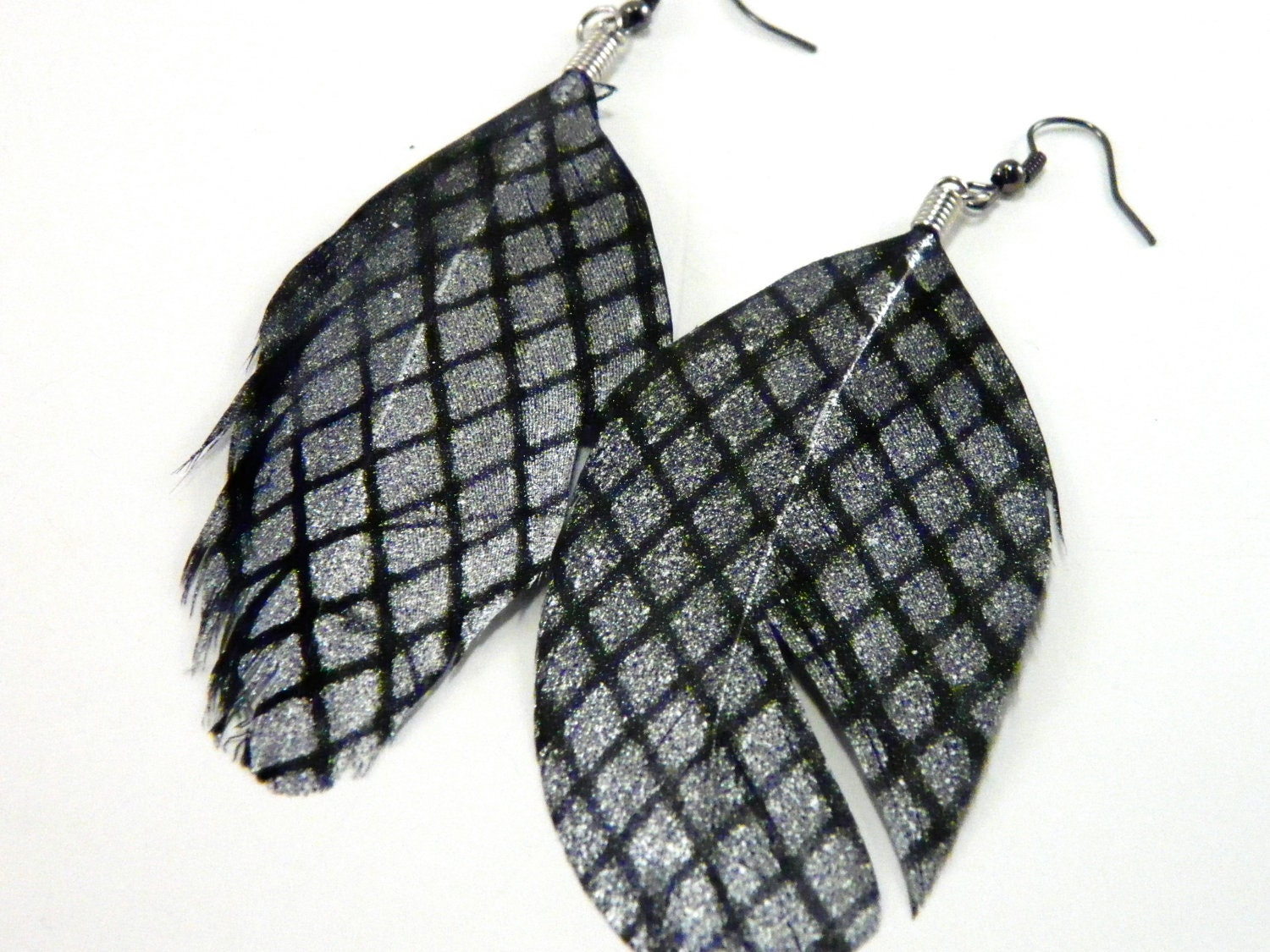 Silver & Black Feather Earrings - UnnamedRoad