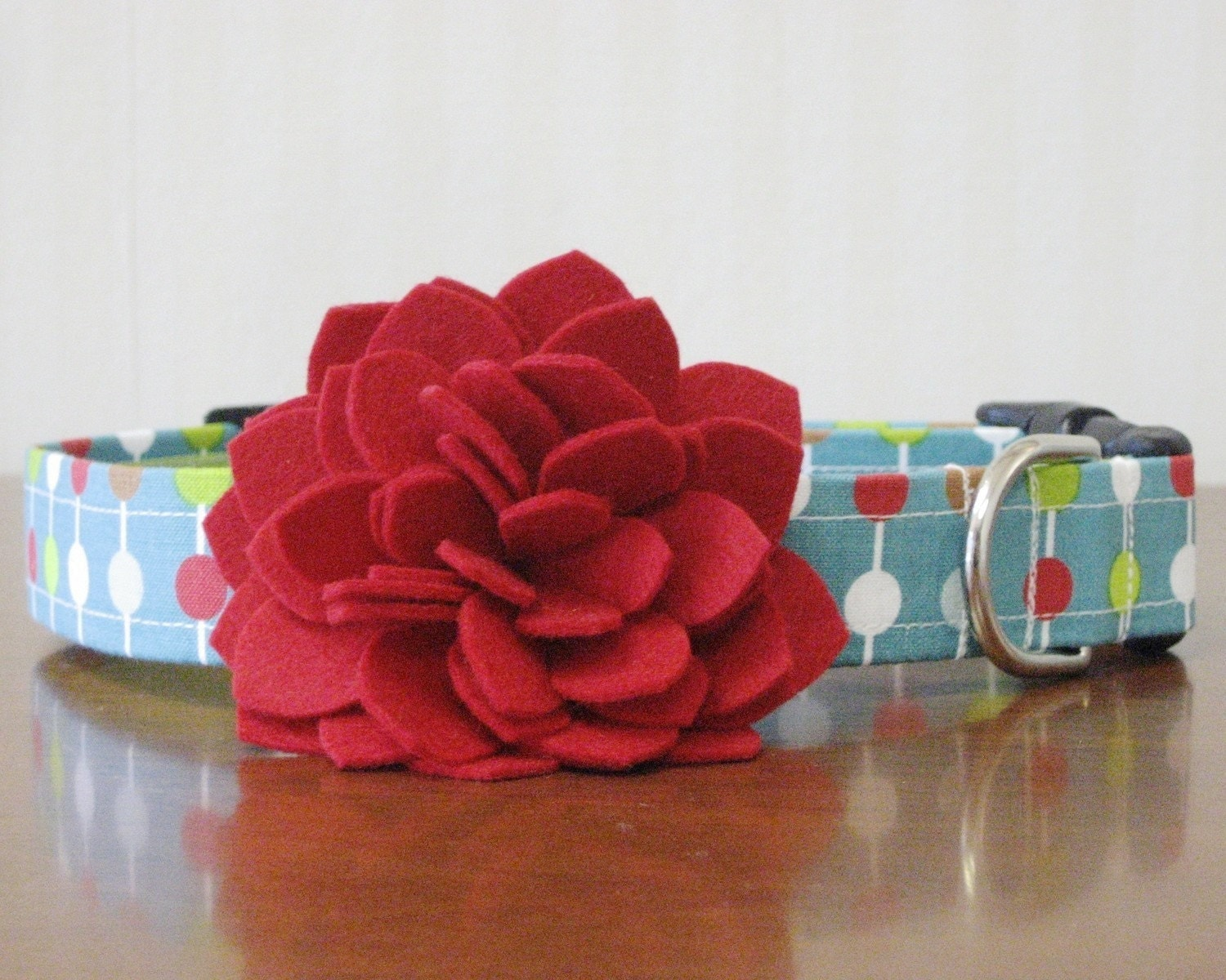 Red Dahlia and Dots Custom Dog Collar