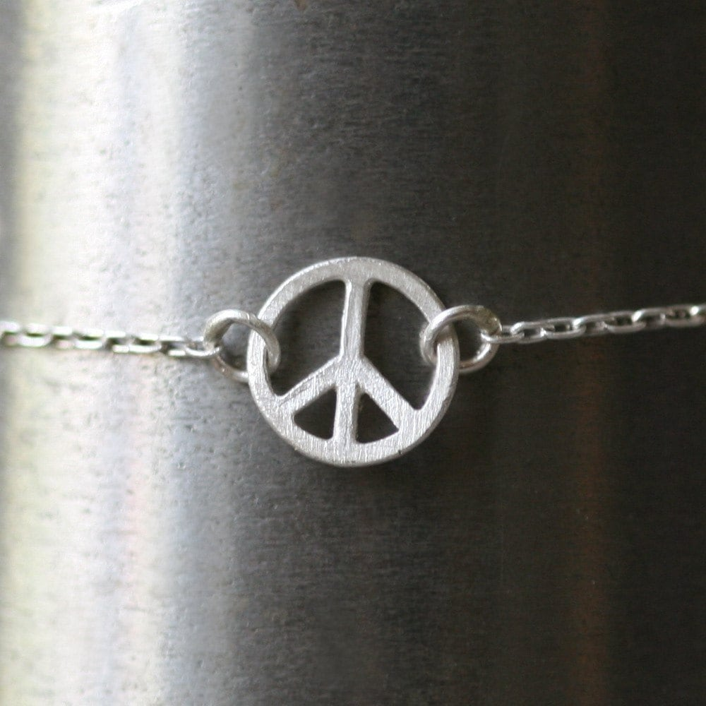 Tiny Round Peace Sign Bracelet in Sterling Silver