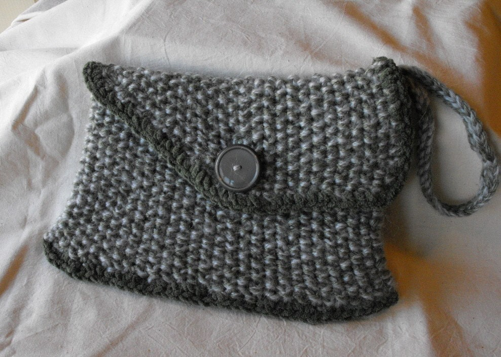 Hand Knit Wristlet Clutch Purse Bag Tote in Sage Green and Gray Tweed