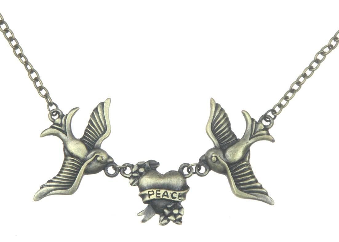 Vintage Double Bird Peace Necklace