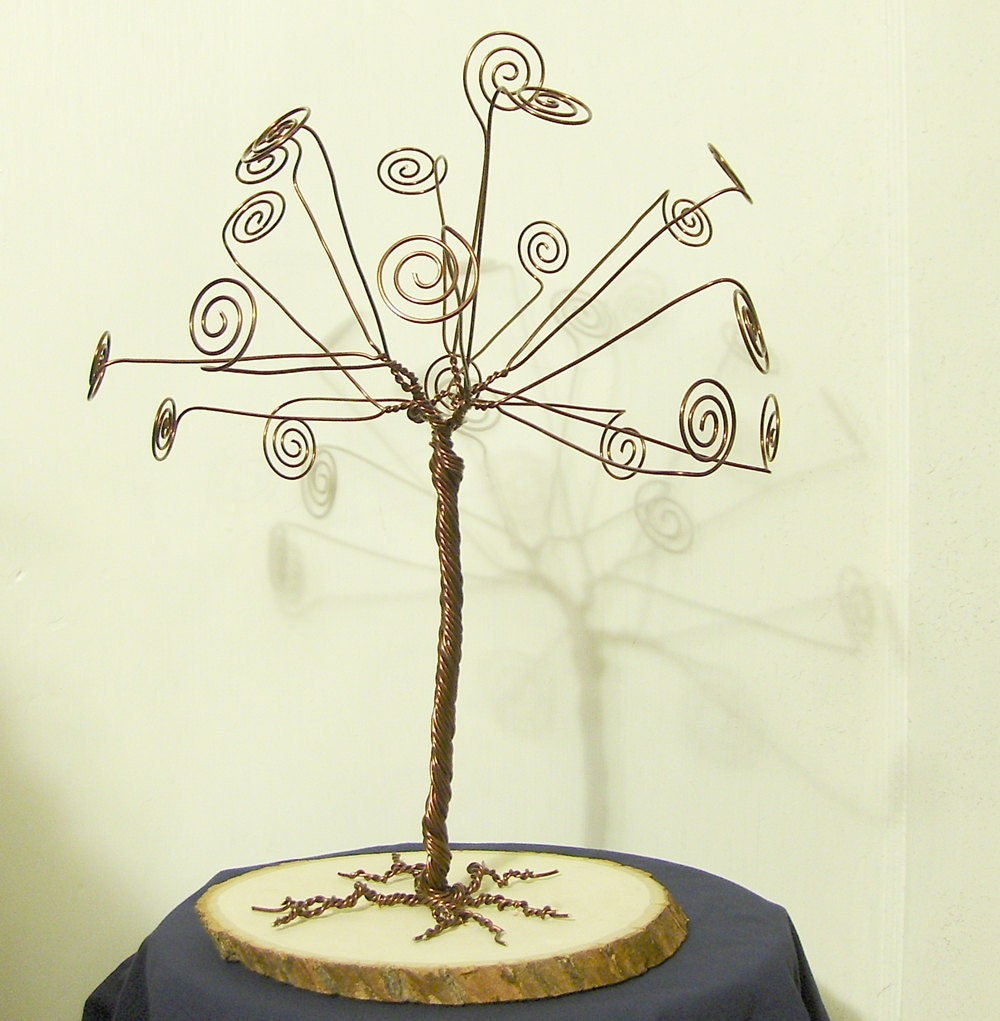 wire display tree card holder photo display so by twystedwyres