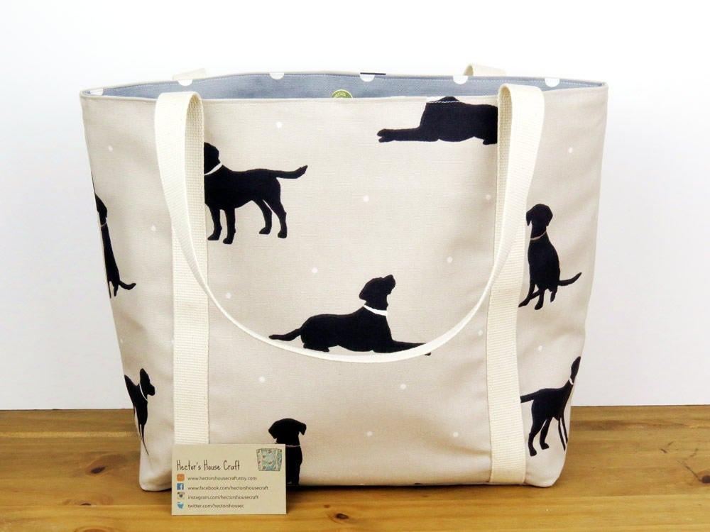 Canvas handbag for dog lovers Labrador fabric purse New mom purse Lined tote shopping bag  Medium size animal bag