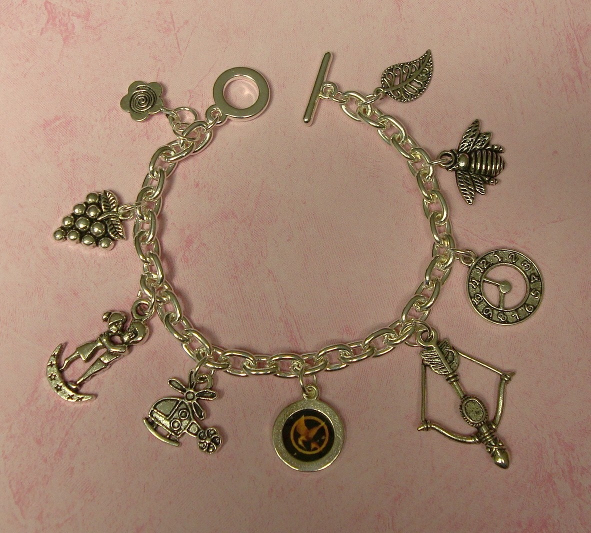 MOCKINGJAY Tribute Charm Bracelet Inspired by Hunger Games Series Books