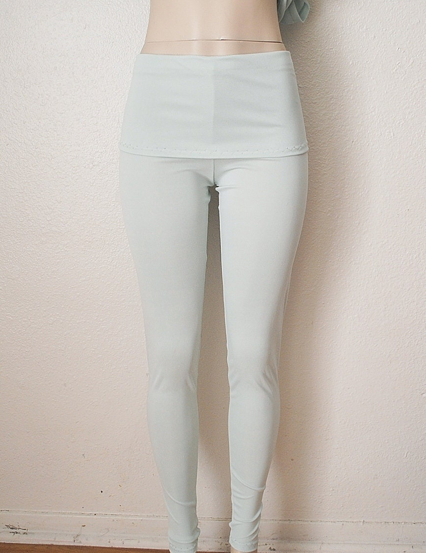 Fold Over Leggings Knit Pants Womens Clothing in Light Winter Mint - FineThreadz