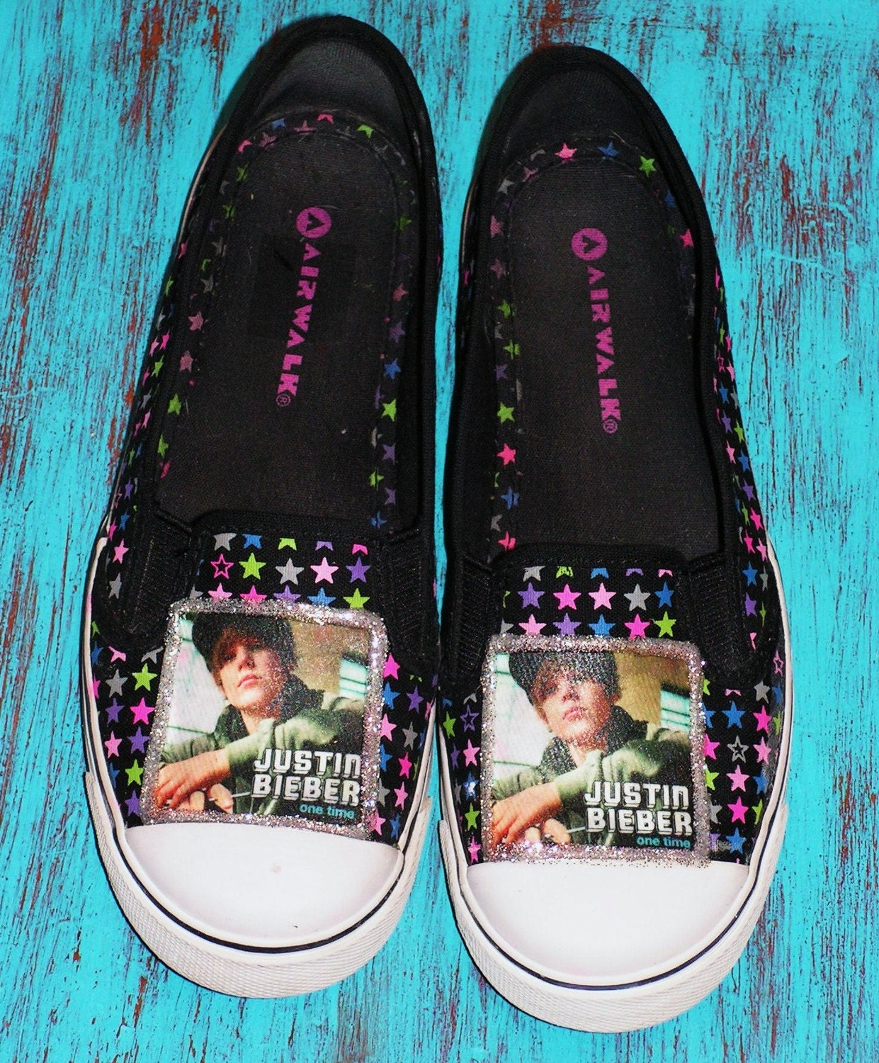 Decorated Size 7 Shoes with pics of Justin Bieber
