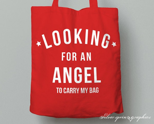 Christmas Tote Bag  Looking For An Angel To Carry My Bag