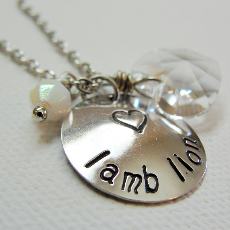 Lion and Lamb Sterling Silver Charm Necklace with Heart Crystal
