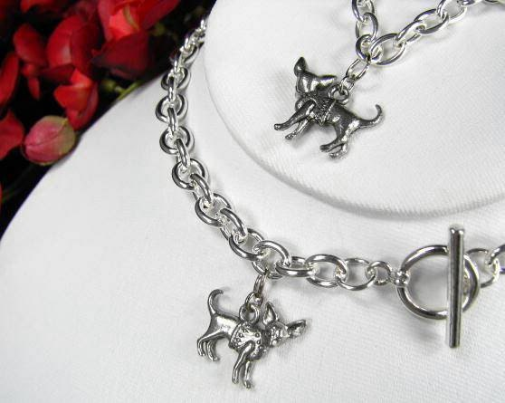 chihuahua dog breed charm toggle silver tone by