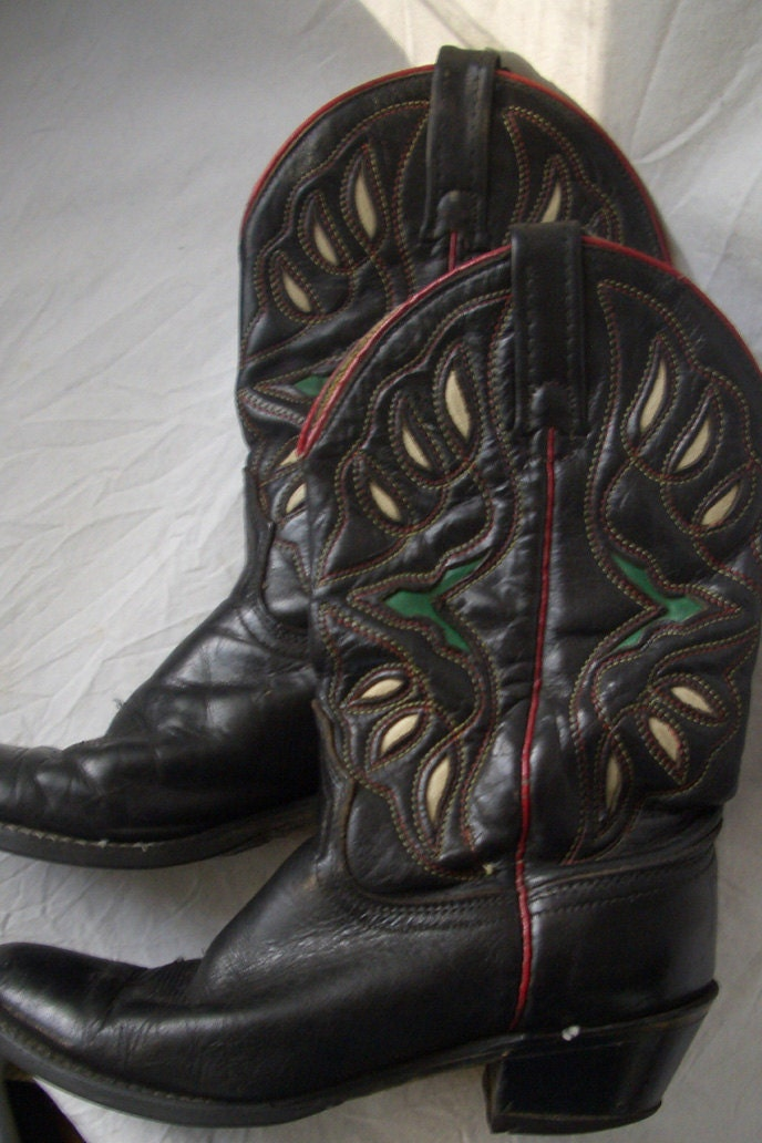 Vtg Acme cowboy boots black colored inlays 6.5 women
