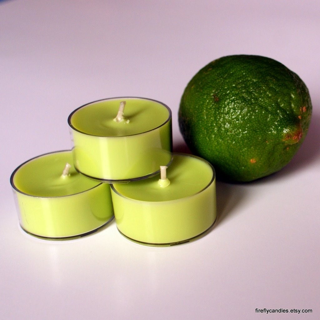 Package of 6 All Natural Soy Wax Tealights - Scented with pure Lime essential oil