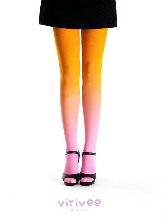 Ombre tights pink - orange - virivee