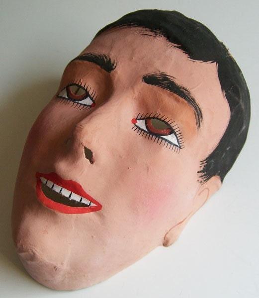 Vintage 1930s Deco Man German Paper Mache Hand Painted Mask