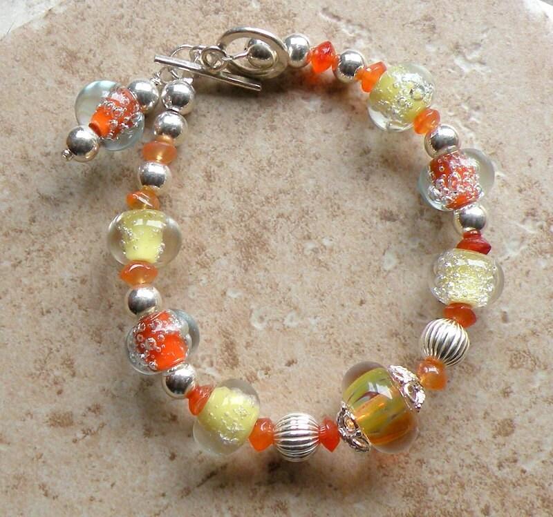 OrangeFizz Bracelet - Fun Yellow and Orange Lampwork Fizz